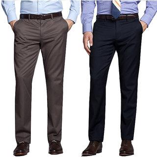 Black Brown Regular Fit Formal Trouser For Men (Pack Of 2)