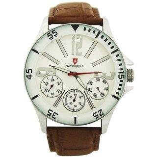 Svviss Bells Mens White & Brown Round Dial Analog Genuine Leather Strap Wrist Watch
