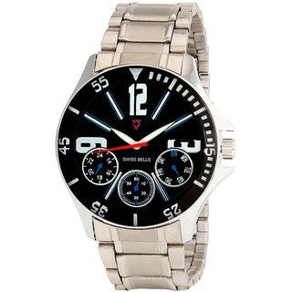 Svviss Bells Men's Black & Silver Round Dial Analog Metal Strap Wrist Watch