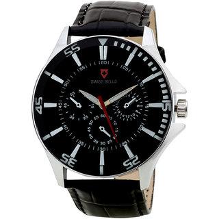 Svviss Bells Men's Black & Black Round Dial Analog Genuine Leather Strap Wrist Watch