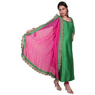Attire Green Pure Bhagalpuri Silk Suit with Kundan Neckline and Heavy Dupatta