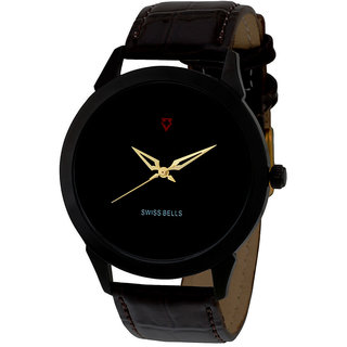 Svviss Bells Mens Black Round Dial Analog Genuine Leather Strap Wrist Watch