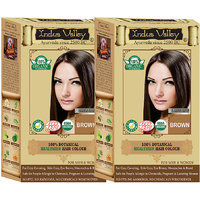 Indus Valley 100 Organic Botanical Brown Hair Color - One Touch Pack - Twin Set