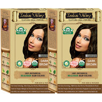 Indus Valley 100 Organic Botanical Dark Brown - No Ammonia Hair Color - One Touch Pack - Twin Set