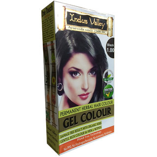 Indus Valley Organically Natural Gel Black 1.00 Hair Color One Touch Pack