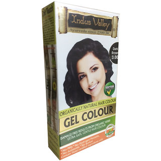 Indus Valley Organically Natural Gel Dark Brown 3.00 Natural Hair Color - One Touch Pack