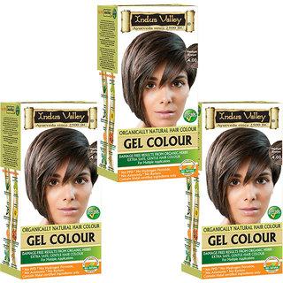 Indus Valley Organically Natural Gel Medium Brown 4.00 Hair Color - Triple Pack