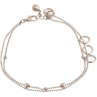 Jazz Jewellery Silver - Toned Multiple Round Ring Charms Multistranded Chain Anklet for Women and Girls