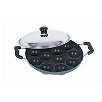 12pits Bright Non-stick Appam Patra Maker With Stainless Steel Lid