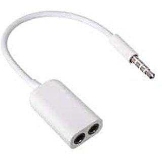 3.5mm Jack Cable For All Android/Smart And Iphone Headphone Splitter(White)