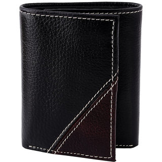 Zint Mens Wallet Pure Leather Trifold Credit Card Holder Black Coin Purse