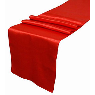 Magideal 30X275Cm Satin Plain Damask Table Runner Wedding Party Venue DecorsRed class=
