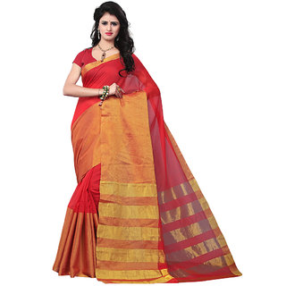 Trendz Apparels Red Banarasi Silk, Banarasi Plain Saree With Blouse