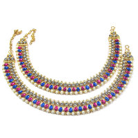 Pink and Blue Tilak Kundan Anklet