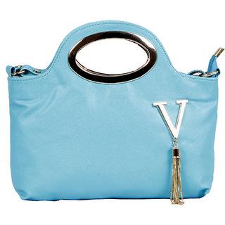 Alexa India Evergreen Stylish Golden Handle Vee Design Hand Bag - Green