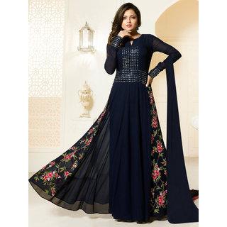 Thankar Navy Blue Embroidered Georgette Anarkali Suit