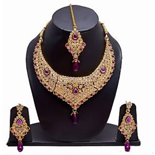 Manukunj Gold Plated Kundan Necklace Set With Matching Maang Tikka - Purple