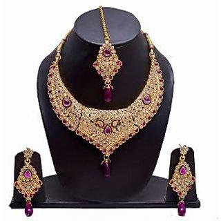 Manukunj Gold Plated Kundan Necklace Set With Matching Maang Tikka - Purple