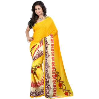 Chigy Whigy Yellow Georgette Indian Wear Sarees With Blouse Piece