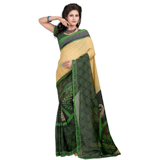 Chigy Whigy Dark Green Faux Georgette Daily Wear Sarees With Blouse Piece
