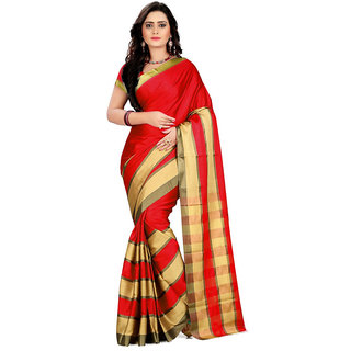 Chigy Whigy Red Cotton Silk Casual Wear Sarees