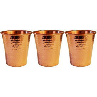 Artandcraftvilla Set of 3 Copper Water Glass 250 ML for Drink Water Gift Item