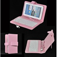 Magideal Universal USB Keyboard PU Leather Case Cover For 7/8 Inch Tablet Pink