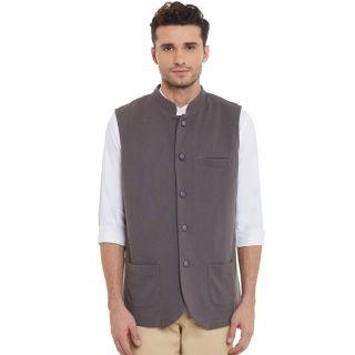 Hypernation Grey Sleeveless Nehru Jacket