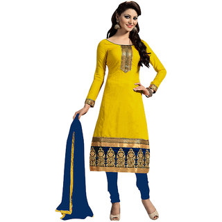 Trendz Apparels Yellow Embroidered Un Stitched Dress Material TARNSARV1011