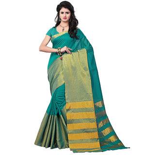 Trendz Apparels Green Banarasi Silk, Banarasi Plain Saree With Blouse
