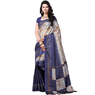 Trendz Apparels Blue Art Silk Printed Saree With Blouse
