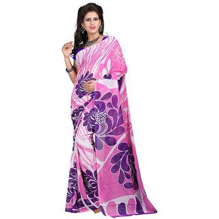 Trendz Apparels Pink Georgette Printed Saree With Blouse