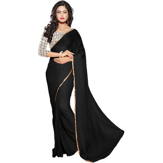 Trendz Apparels Black Chiffon Printed Saree With Blouse