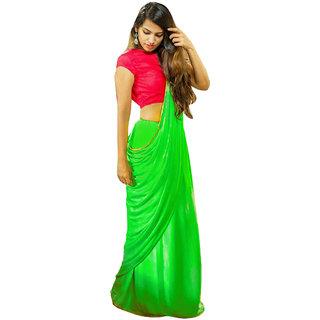 Trendz Apparels Green Chiffon Printed Saree With Blouse