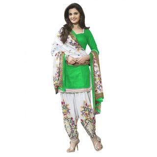 Trendz Apparels Green Printed Un-Stitched Dress Material TARNSPRLT3616