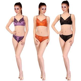 SK Dreams Black,Purple,Orange Girl\'s Bra & Panty Set Combo