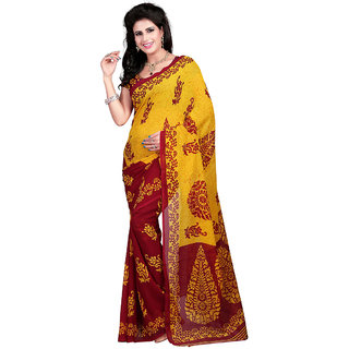 Trendz Apparels Red Georgette Printed Saree With Blouse
