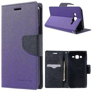 Mercury Goospery Fancy Diary Wallet Flip Cover Case for Samsung Galaxy J2 Purple