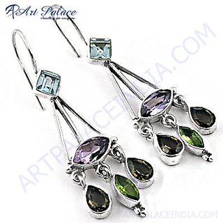 Feminine Style Multi Stone Silver Earring