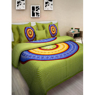 Art Bazar 1 Double Cotton Printed Bed Sheet With 2 Pillow Covers