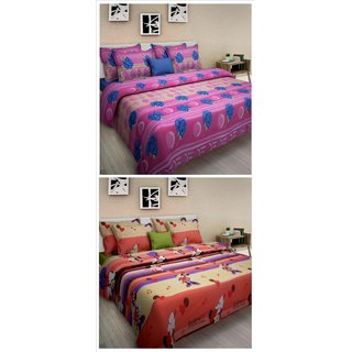 FREELY 100 PURE COTTON COMBO OF 2 DOUBLE BED SHEET WITH 4 PILLOW COVERS (DDF9601C-9605B)