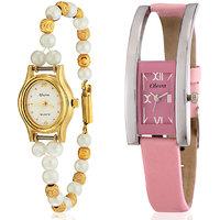 Oleva Round Dial Multicolor Pearl Strap Womens Quartz Watch