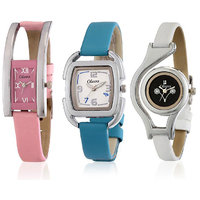 Oleva Multicolor Leather Strap Womens Set Of 3 Watches