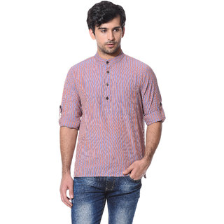 Abhiyuthan Striped Multi Casual Short Kurta for Men