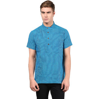 Abhiyuthan Striped Blue Casual Short Kurta for Men