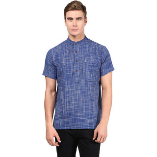 Abhiyuthan Checks Blue Casual Short Kurta for Men