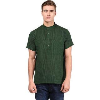 Abhiyuthan Striped Dark Green Casual Short Kurta for Men
