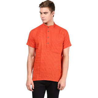 Abhiyuthan Striped Red Casual Short Kurta for Men
