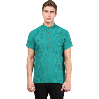 Abhiyuthan Striped Turquoise Casual Short Kurta for Men