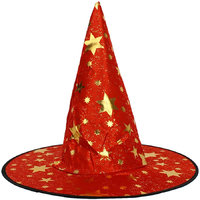 Magideal Kid's Wizard Hat Witch's Pointed Hat Halloween Fancy Dress Costume Red